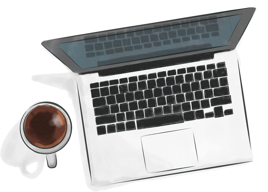 Water Color Illustration of Laptop and Coffee